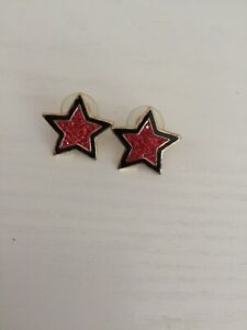 Butler And Wilson Red And Black Star Earrings