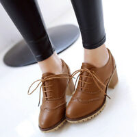 Women Patent Leather Carved Oxford lace-up Chunky Heel Boots Round Toe  Shoes