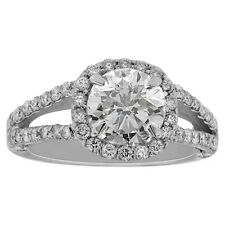 3.50 Round cut 14K white gold Halo diamond engagement ring F SI2 CERTIFIED
