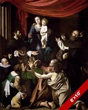 MADONNA OF THE ROSARY CATHOLIC CARAVAGGIO PAINTING ART REAL CANVAS PRINT