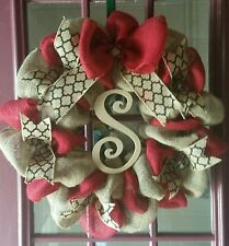 """Red  and Natural Burlap Wreath/-Personalized 22"""""""
