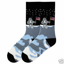 K.Bell Men's Pair Socks Man On The Moon American Made Cotton Blend Mens Sock NWT