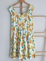 Sunshine Rockabilly Pineapple Box Pleat Dress Plus Size 16