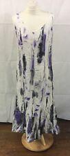 Frank Walder White/Purple Linen Maxi Dress Sleeveless