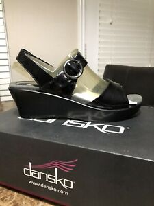 Dansko Crinkle Patent Adele Women Leather Slingback Wedge Sandal