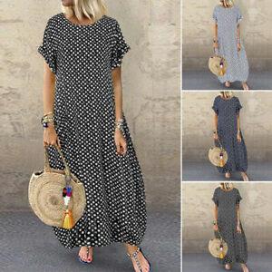 Boho Summer Women Polka Dots Long Dress Ruffle Holiday Party Beach Maxi Sundress