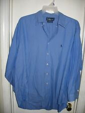 Ralph Lauren Yarmouth Blue Pinpoint Oxford Top Shirt 17.5/33 Pony Logo