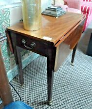 Drop Leaf Side Table on Casters. 1 Side Drawer. Dark wood with Light Wood Inlay.