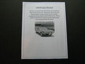 1969 Pontiac Firebird dealer cost/window list sticker price for car/options '69