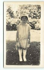 1920s Flower Girl Portrait -Flapper Fashion ~California RPPC Photo Postcard -P4