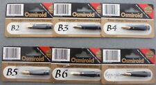 Osmiroid Specialist Nib Units, 22ct gold plated, B2 to B6, & Copperplate sizes.
