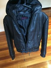 Ladies 100% Real Leather Bomber Biker Jacket. With Hood And Snake Skin Trim. S