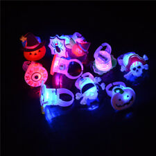10X Kids Child LED Light Up Flashing Finger Rings Glow Xmas Halloween Party SK