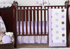 Bumperless Lavender & Brown Polka Dot Baby Girl Crib Bedding Set Room Collection