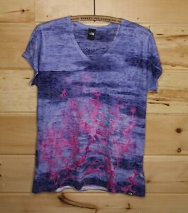 THE NORTH FACE V-Neck Active Shirt With Purple Pink Pattern Thin Work Out Large