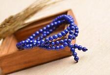 AAAA Natural Lapis Lazuli Gemstone 108 Prayer Round Beads Bracelet AAA 6 mm