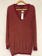 BCBG Paris Women Blouse Long Sleeve V Neck Sweater Burgundy Silvery Red Size L