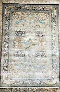 Vintage Chinese Silk Rug. Handmade Hand Knotted 3x2. Shades of Blue & White.