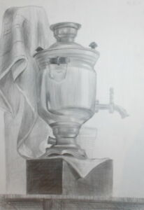 VINTAGE PENCIL DRAWING STILL LIFE SAMOVAR TEAPOT
