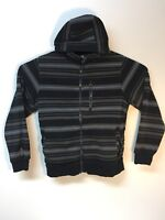 Mens Medium Empyre Bonded Fleece Black Striped Zip Up Hoodie