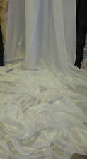 "5M METALIC IVORY SHIMMER  GOLD   DRESS CHIFFON FABRIC 58"" WIDE"