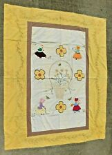 VINTAGE 1940'S HAND SEWN APPLIQUE AND EMBROIDERED SUNBONNET GIRL FLOWERS QUILT