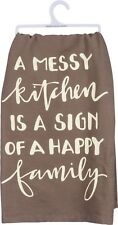 "A Messy Kitchen ~ Sign Of A Happy Family~Tea Towel 28""~Hand/Kitchen/Dis h/Cotton"