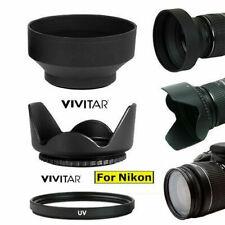 HARD TULLIP HOOD+ RUBBER SOFT HOOD + UV FILTER FOR NIKON D3200 D3300 D5000 D5100