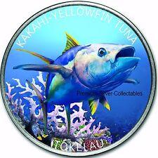"2014 Tokelau Yellow Fin Tuna 1 Ounce Pure Silver Colorized ""Fish"" Coin Series!!!"