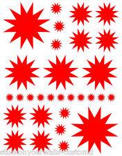 60 BRIGHT RED STAR STARBURST BEDROOM WALL DECALS STICKERS TEEN GIRL BEDROOM ART