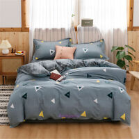 Single/Double/Queen/King Bed Duvet/Doona/Quilt Cover Set Cotton Triangle Grey