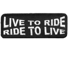 LIVE TO RIDE - RIDE TO LIVE Motorcycle MC Club WHITE Biker VEST Patch PAT-1146