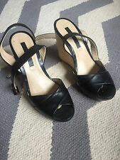 RARE Jill Stuart Black Leather Criss Cross Ankle Strap Wedge Sandals Wood 38