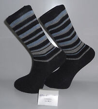 Grey Socks with Grey Heels and Toes and Black, Blue and white Stripes