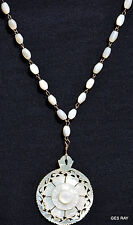 Antique Vintage Carved Mother of Pearl MOP Flower Pendant Beaded Necklace