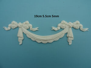 french chic Decorative swag and bow resin applique furniture moulding onlay o42A