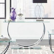 Coaster Furniture Modern Glass Top Sofa Table Console Table - Chrome/Silver