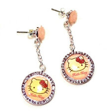 Bijou enfant Sanrio Hello Kitty boucles d'oreilles pendantes strass rose