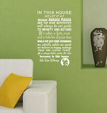 Hacemos Disney inspiradores Pared citar Reglas De La Casa Vinilo Autoadhesiva De Arte dhr2