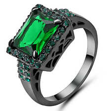 Size 6 Green Emerald Garnet Big Stone Wedding Ring 18K black gold filled Jewelry