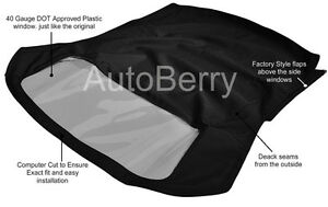 Fiat 124 Spider CS1 1966-1979 Convertible Soft Top With Plastic Window BLK Cloth
