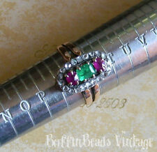 DIAMONDS RING Size R very pretty emerald rubies stamped gold Indian? love gift