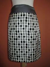 Baraschi Womens Size 10 Black & Grey Print Silk Pencil Skirt