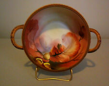 "NIPPON Bowl 9"" Two Handle Rich Hand-Painted Nut Acorn Pattern"