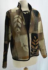 Coldwater Creek Chenille jacket light zip blazer coat leaf geo long sl Top S NEW
