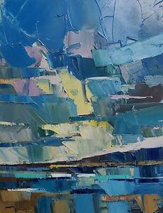 JOSE TRUJILLO Oil Painting IMPRESSIONISM 16X20 CONTEMPORARY SEA SEASCAPE CLOUDS