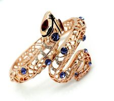 Swarovski Crystals Snake Bracelet Women Cuff Rose Gold Plated Hinge