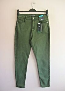 M&S Size 14 Forest Green Stretch Lyocell + Cotton Mix Skinny Hi Rise Pants NEW