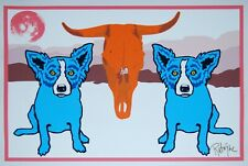 George Rodrigue Blue Dog Moo Cow Blues White Silkscreen Print Signed Numbered