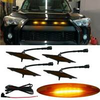 4PCS Smoked Lens Front Grille Amber LED Lights Kit For Toyota 4Runner 2014-2019